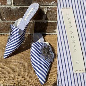 Zara Blue & White Striped Mule